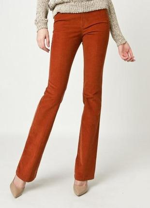 Стильные вельветовые брюки massimo dutti терракотового цвета, s, хлопок