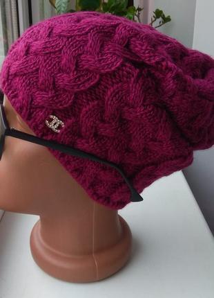 Новая красивая шапка чулок косы (на флисе) марсал