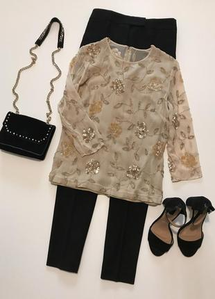 Шикарная блуза с вышивкой пайетками и бисером от gina bacconi 100% шёлк