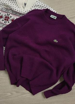 Об'ємний баклажановий светр lacoste