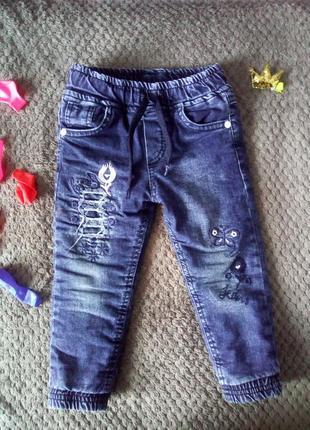Зимнее теплые джинсы на девочку