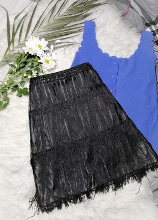 Стильная кожаная юбка с бохромой
