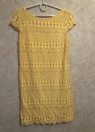 Нарядное вечернее желтое платье