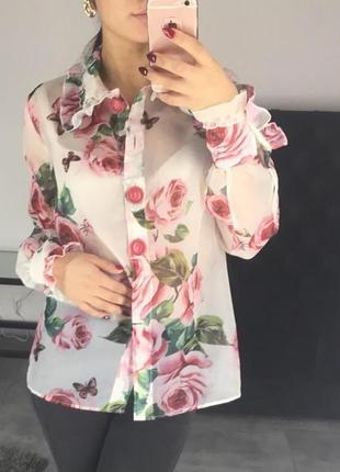 Дизайнерская блуза из органзы в розы