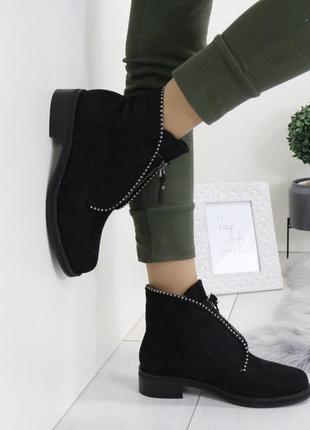 Новые черные зимние замшевые ботинки размер 38,40,41