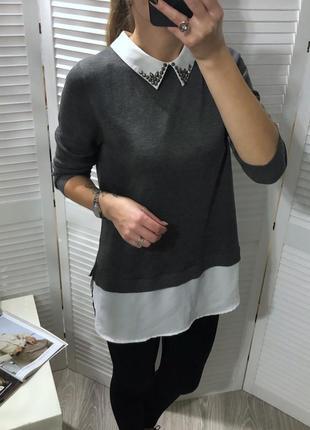 Джемпер с рубашкой , свитер с рубашкой