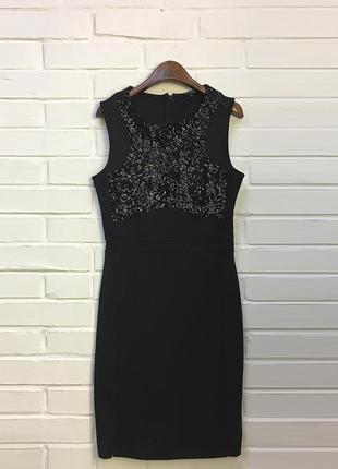 Нарядное вечернее черное мини платье