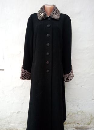 Роскошное черное теплое шерстяное пальто с меховым воротником и рукавами,кашемир.