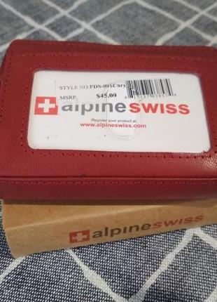 Маленький кожаный кошелек кардхолдер alpine swiss