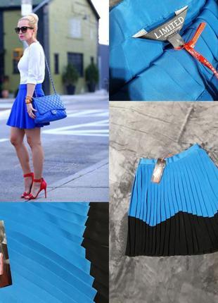 Синяя юбка плиссе.плиссированная юбка.
