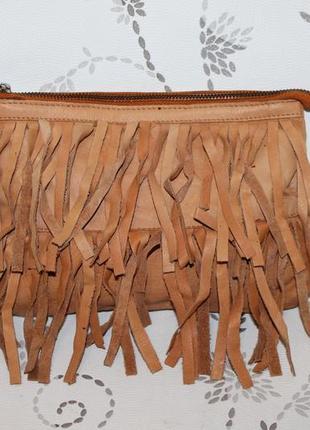 Кожаный клатч/косметичка от pieces натуральная кожа бахрома
