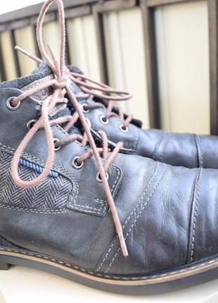 Кожаные утепленные ботинки полуботинки bugatti р.46 30 см германия