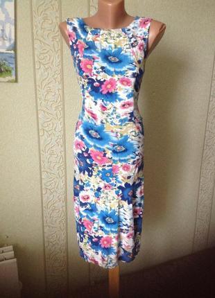 Яркое летнее платье, натуральная ткань
