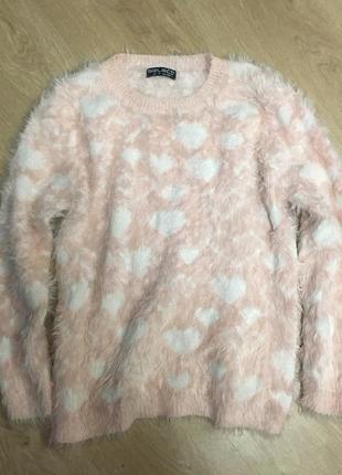 Нежный тёплый мягкий свитерок травка в сердечках размер 12