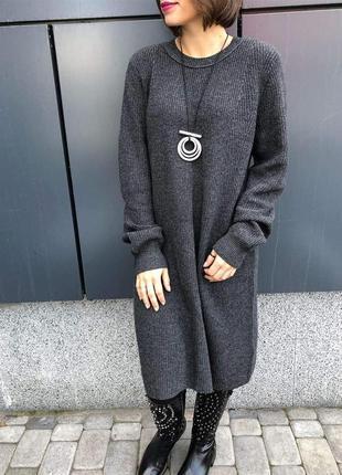 Серое кашемировое платье abercrombie&fitch