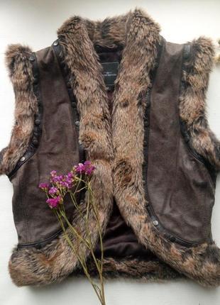 Стильный теплый жилет,дубленка без рукавов,эко-дубленка,теплая безрукавка,меховая жилетка