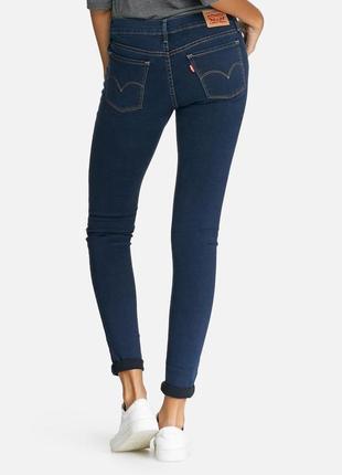 Джинсы женские levis demi curve mid rise skinny jeans зауженные темносиние
