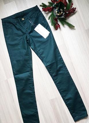 Лосины леггинсы с пропиткой под кожу vila новые джеггинсы  болотного цвета  хаки зеленые
