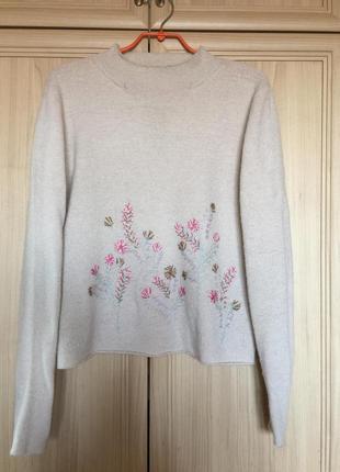 Новый шерстяной свитерок с вышивкой linea 14-16pp