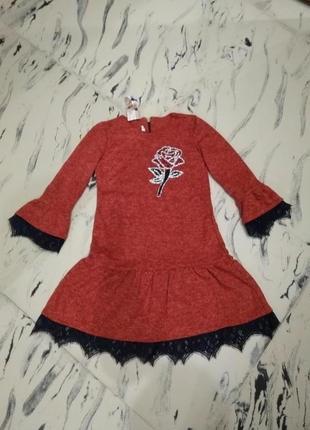 Новое теплое платье польша ангора софт с камнями и кружевом