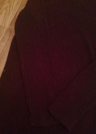 Платье марсала в рубчик прямого кроя алое винное бордо теплое зимнее с длинным рукавом