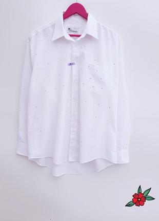 Стильная рубашка обсыпана камнями рубашка с камнями большой размер