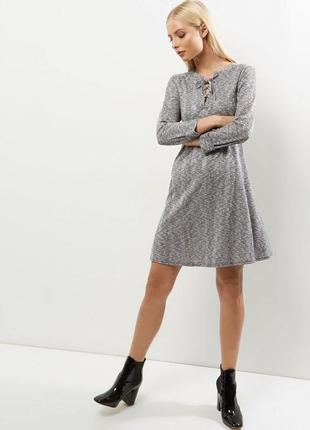 Меланжевое платье-трапеция со шнуровкой new look