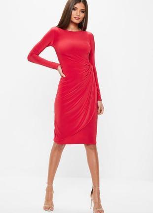Идеальное красное платье миди с узлом и рукавом missguided ms544