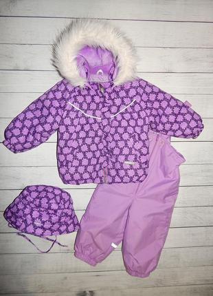 Зимний, термо-комбинезон ленне,куртка lenne + шапка,для девочки 80-86 рост.