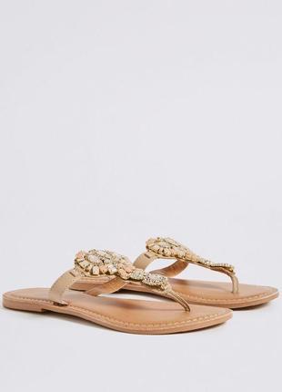 Ювелирные сандалии с кристаллами шлепки вьетнамки marks&spencer3 фото
