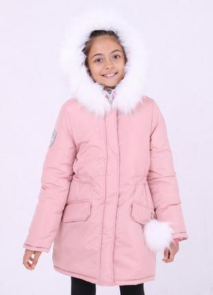 Модная зимняя детская розовая куртка капюшон с белым мехом помпон на кармане 128-146