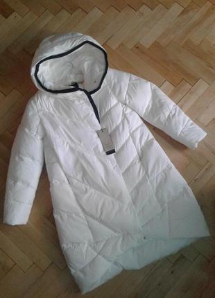 Бомбезна куртка , пуховик evacana розмір 40, m-l, білий пух