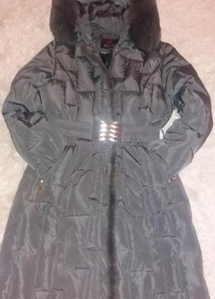 Пальто-пуховик! натуральный мех! недорого!