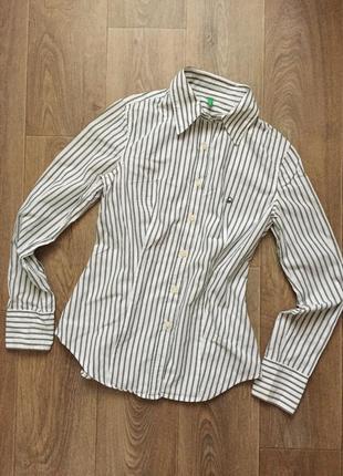 Рубашка белая полоска зелёная benetton