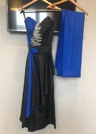 Вечернее платье черно-синее с вышивкой паетки и накидкой хs, 36
