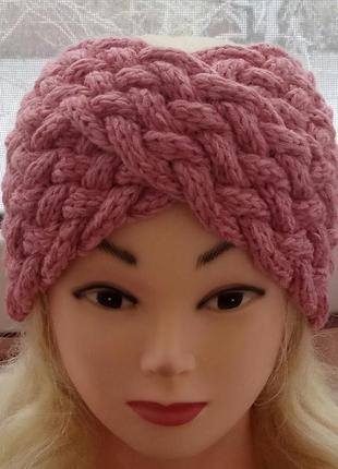Повязка-чалма цвет темно-розовый