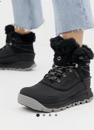 Чёрные водонепроницаемые зимние ботинки merrell