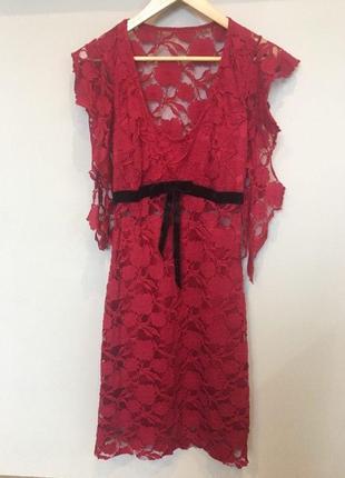 Платье праздничное, бордовое вечернее гипюр, кружево, ретро s-m 38  с коротким рукавом