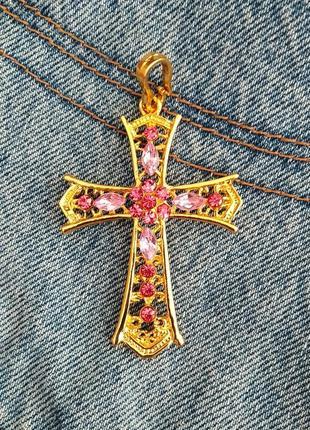 Подвеска золотой крестик с розовыми камнями, хрестик, хрест