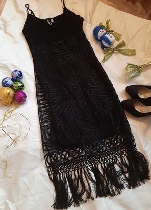 Вечернее кружевное платье с бахромой, 100% шелк от guess