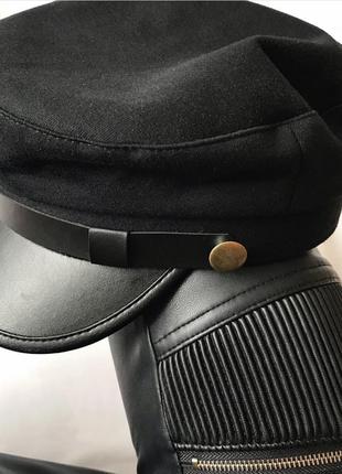 Черное кеппи картуз капитанка кепи шерстчная осенняя теплая кепка с кожаным козырьком