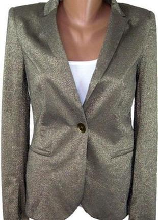 Новый еффектный пиджак золотистый с люрексом