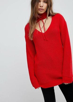 Насыщенно красное свитер- платье  крупной вязки с чокером