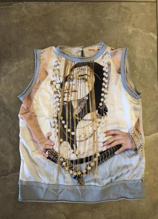 Нарядная блуза впереди 100% шелк