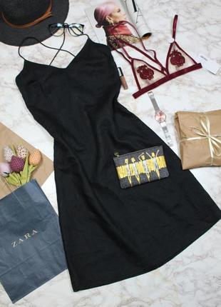 Обнова! платье сарафан а-силуэт миди черное на тонких бретелях накрест лён лляное h&m