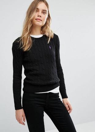 Чёрный крутой свитер джемпер ralph lauren вязанный