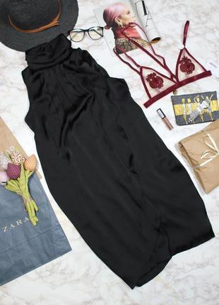 Обнова! коктейльное сатиновое черное платье миди с высоким воротом vero moda