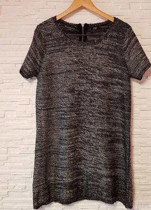 Теплое вязаное платье серебряная нить меланж tu