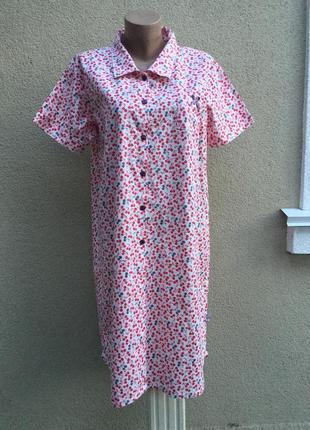 Платье-рубашка-халат,домашнее в вишенки,стиль прованс,дизайнер франция,хлопок,