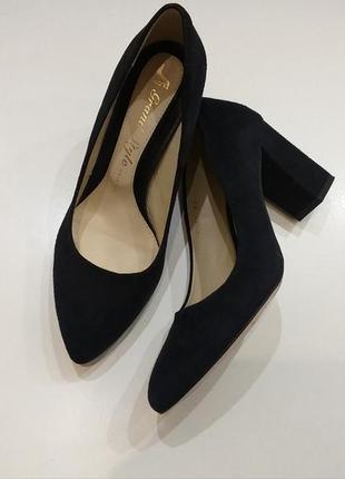 Туфли  на каблуку замшевые натуральные кожаные синие grand style